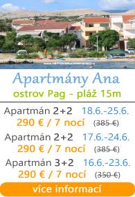 Apartmány Ana - ostrov Pag